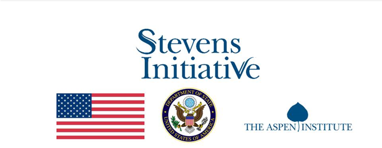 Stevens Initiative logo, USA flag, State Dept seal, The Aspen Institute logo